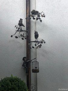 Ein Kunstwerk am Regenfallrohr